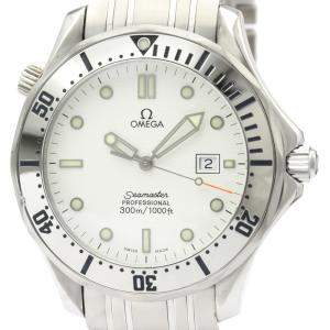 Omega White Stainless Steel Seamaster Professional 300M Quartz 2542.20 Men's Wristwatch 41 MM