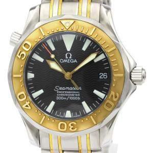 """ساعة يد رجالية أوميغا """"سيماستر برفيشيونال أوتوماتيك 2453.50"""" ستانلس ستيل و ذهب أصفر عيار 18 سوداء 36 مم"""