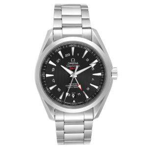 Omega Black Stainless Steel Seamaster Aqua Terra GMT Co-Axial 231.10.43.22.01.001 Men's Wristwatch 43 MM