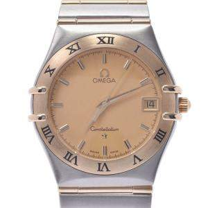 Omega Champagne 18K Yellow Gold And Stainless Steel Constellation 1212.10 Men's Wristwatch 33.5 MM