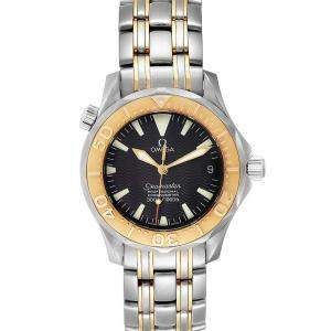 Omega Black 18K Yellow Gold And Stainless Steel Seamaster 2453.50.00 Men's Wristwatch 36 MM