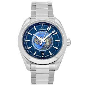 Omega Blue Stainless Steel Seamaster Aqua Terra 150m GMT Worldtimer 220.10.43.22.03.001 Men's Wristwatch 43 MM