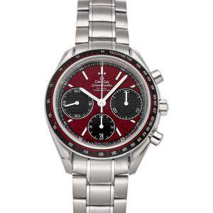 Omega Red/Black Stainless Steel Speedmaster Racing Chronograph 326.30.40.50.11.001 Men's Wristwatch 40 MM