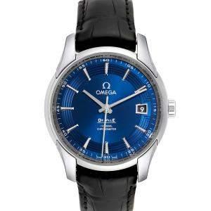 """ساعة يد رجالية أوميغا """"دي فيل اور فيجون 431.33.41.21.03.001"""" ستانلس ستيل زرقاء 41 مم"""