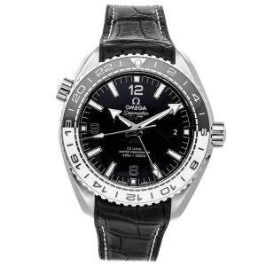 Omega Black Stainless Steel Seamaster Planet Ocean 600m GMT 215.33.44.22.01.001 Men's Wristwatch 43.5 MM