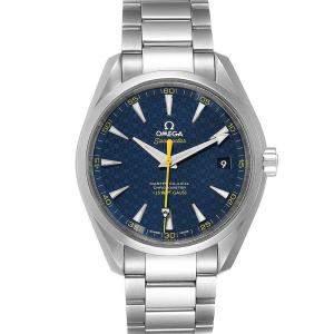 """ساعة يد رجالية أوميغا """"سياماستر اكوا تيرا سبيكتر بوند محدود 231.10.42.21.03.004"""" ستانلس ستيل زرقاء 41.5 مم"""