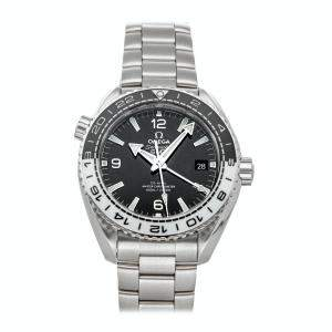 Omega Black Stainless Steel Seamaster Planet Ocean 600m GMT 215.30.44.22.01.001 Men's Wristwatch 43.5 MM