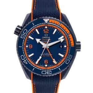 Omega Blue Ceramic Planet Ocean GMT 215.92.46.22.03.001 Men's Wristwatch 45.5 MM