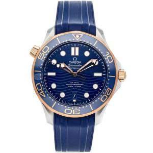 """ساعة يد رجالية أوميغا """"سيماستر ديفر 300إم 210.22.42.20.03.002"""" ستانلس ستيل و ذهب وردي عيار 18 زرقاء 42 مم"""
