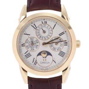 Omega White 18K Yellow Gold Louis Blanc Moonphase Triple Calendar 5341.30.12 Automatic Men's Wristwatch 34 MM