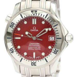 Omega Red Stainless Steel Seamaster Professional 300M 2552.61 Men's Wristwatch 36 MM