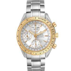 Omega Silver 18K Yellow Gold And Stainless Steel Speedmaster Day Date 323.21.40.44.02.001 Men's Wristwatch 40 MM