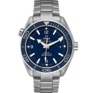 Omega Blue Titanium Seamaster Planet Ocean 232.90.46.21.03.001 Men's Wristwatch 45.5 MM