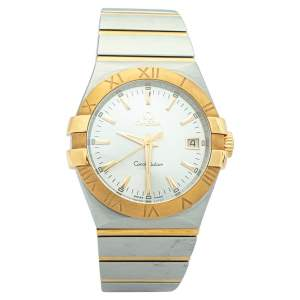 Omega Silver 18K Yellow Gold & Stainless Steel Constellation 123.20.35.60.02.002 Men's Wristwatch 35mm