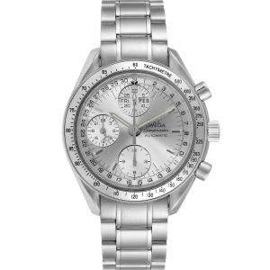 Omega Silver Stainless Steel Speedmaster Day Date Chronograph 3523.30.00 Men's Wristwatch 39 MM