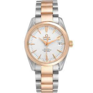 Omega Silver 18K Rose Gold And Stainless Steel Seamaster Aqua Terra 2304.30.00 Men's Wristwatch 36 MM