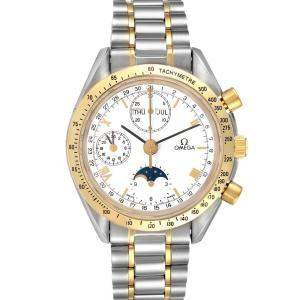 Omega White 18K Yellow Gold And Stainless Steel Speedmaster MoonPhase 3330.20.00 Men's Wristwatch 39 MM