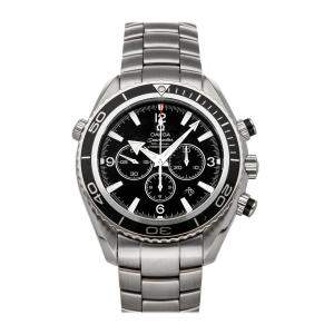 Omega Black Stainless Steel Seamaster Planet Ocean 600m Chronograph 2210.50.00 Men's Wristwatch 45.5 MM
