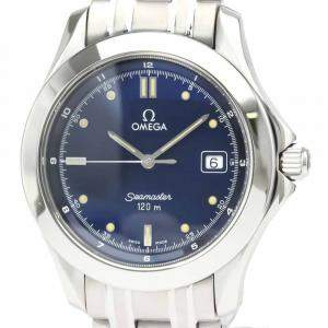 Omega Blue Stainless Steel Seamaster Quartz 2511.80 Men's Wristwatch 36 MM