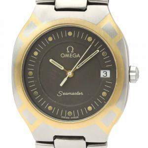 Omega Black Stainless Steel 18K Yellow Gold Seamaster Polaris 396.1022 Men's Wristwatch 31 MM