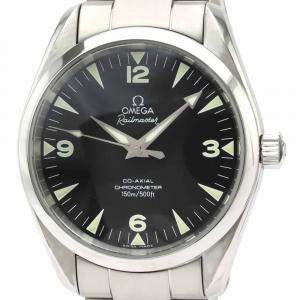 Omega Black Stainless Steel Seamaster Railmaster Co-Axial Automatic 2503.52 Men's Wristwatch 39 MM