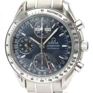 Omega Blue Stainless Steel Speedmaster Triple Date 3523.80 Men's Wristwatch 39 MM
