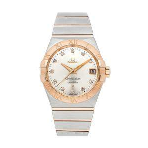 Omega Silver Diamonds 18K Rose Gold And Stainless Steel Constellation 123.20.38.21.52.001 Men's Wristwatch 38 MM