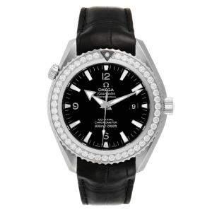 Omega Black Diamonds Stainless Steel Seamaster Planet Ocean 222.18.46.20.01.001 Men's Wristwatch 45.5 MM