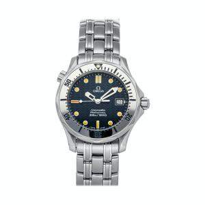Omega Blue Stainless Steel Seamaster 300m 2562.80.00 Men's Wristwatch 35 MM