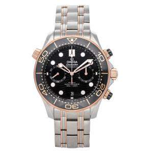 Omega Black 18K Rose Gold And Stainless Steel Seamaster Diver Chronograph 300m 210.20.44.51.01.001 Men's Wristwatch 44 MM