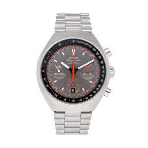 Omega Grey Stainless Steel Speedmaster Mark II Chronograph 327.10.43.50.06.001 Men's Wristwatch 42 x 46 MM