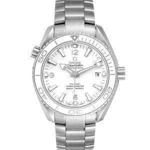 Omega White Stainless Steel Seamaster Planet Ocean 600M 232.30.42.21.04.001 Men's Wristwatch