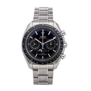 Omega Black Stainless Steel Speedmaster Moonwatch Chronograph 304.30.44.52.01.001 Men's Wristwatch 44 MM