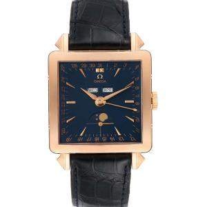 Omega Blue 18k Rose Gold Museum Collection 1951 Cosmic 5701.80.03 Men's Wristwatch 41.5 MM