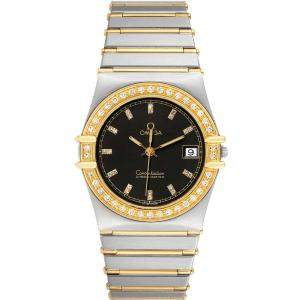 Omega Black Diamonds 18K Yellow Gold And Stainless Steel Constellation Chronometer Men's Wristwatch 33.5