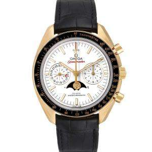 Omega Whiet 18K Yellow Gold Speedmaster Moonphase 304.63.44.52.02.001 Men's Wristwatch 44 MM