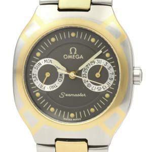 Omega Black Stainless Steel 18K Yellow Gold Seamaster Polaris 396.1022 Men's Wristwatch 31 MM