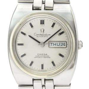 Omega Silver Stainless Steel Constellation Day Date Automatic 168.045 Men's Wristwatch 36 MM