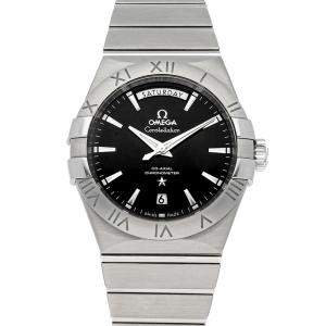 Omega Black Stainless Steel Constellation Day-Date 123.10.38.22.01.001 Men's Wristwatch 38 MM