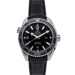 Omega Black Stainless Steel Seamaster Planet Ocean 600m 232.33.38.20.01.001 Men's Wristwatch 37.5 MM