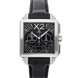 Omega Black Stainless Steel De Ville X2 Chronograph 423.17 3.37.50.01.001 Men's Wristwatch 37 x 37 MM
