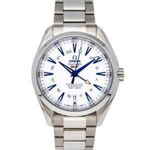 Omega White Titanium Seamaster Aqua Terra 150m GoodPlanet GMT 231.90.43.22.04.001 Men's Wristwatch 43 MM
