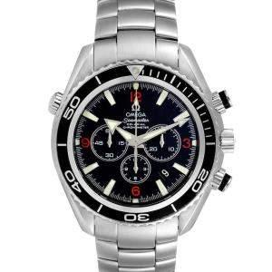 Omega Black Stainless Steel Seamaster Planet Ocean Chronograph 2210.51.00 Men's Wristwatch 45 MM