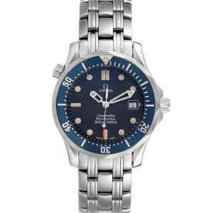 Omega Blue Stainless Steel Seamaster 2561.80.00 Men's Wristwatch 36 MM