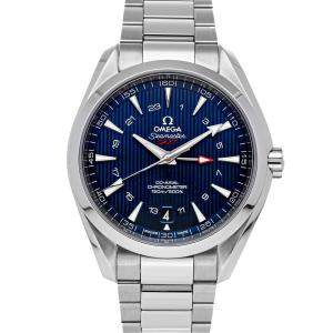 Omega Blue Stainless Steel Seamaster Aqua Terra 150m GMT 231.10.43.22.03.001 Men's Wristwatch 43 MM