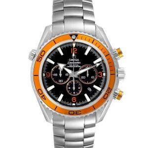 Omega Black Stainless Steel Seamaster Planet Ocean XL Chrono 2218.50.00 Men's Wristwatch 45.5 MM