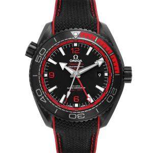 Omega Black Ceramic Planet Ocean Deep GMT 215.92.46.22.01.003 Men's Wristwatch 45.5 MM