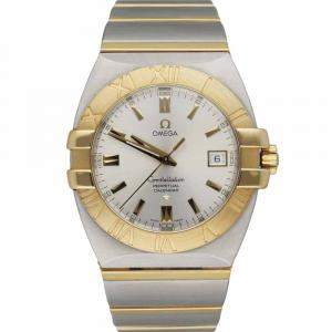 Omega Silver 18K Yellow Gold And Stainless Steel Constellation Double Eagle 1213.30.00 Men's Wristwatch 38 MM