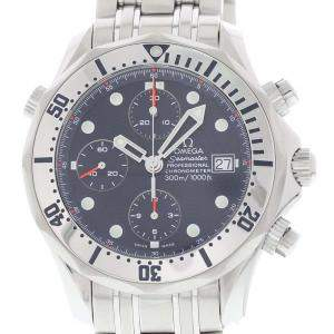 Omega Blue Stainless Steel Seamaster 2598.80.00 Chronograph Diver Men's Wristwatch 41.5 MM