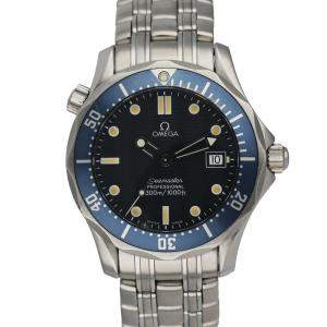 Omega Blue Stainless Steel Seamaster Professional 2516.80.00 Men's Wristwatch 36 MM